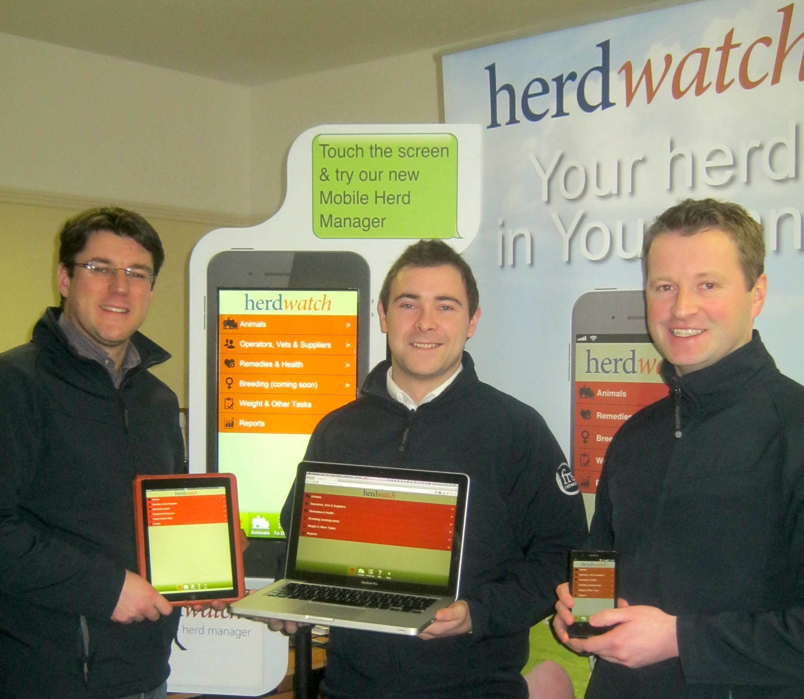 The Herdwatch Team; Fabien Peyaud, Eoin Moloney, Gearoid Fox.