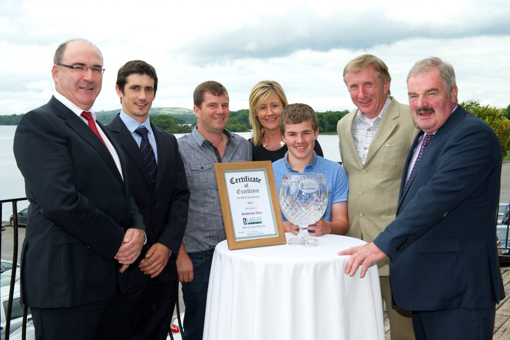 Michael Hanley, CEO, Lakeland Dairies, Niall Callanan, Easyfix Ltd, Lakeland Supreme Milk Quality Winner Ambrose, Margaret and Gavin Daly, Professor Paddy Wall, and Padraig Young, Chairman, Lakeland Dairies.
