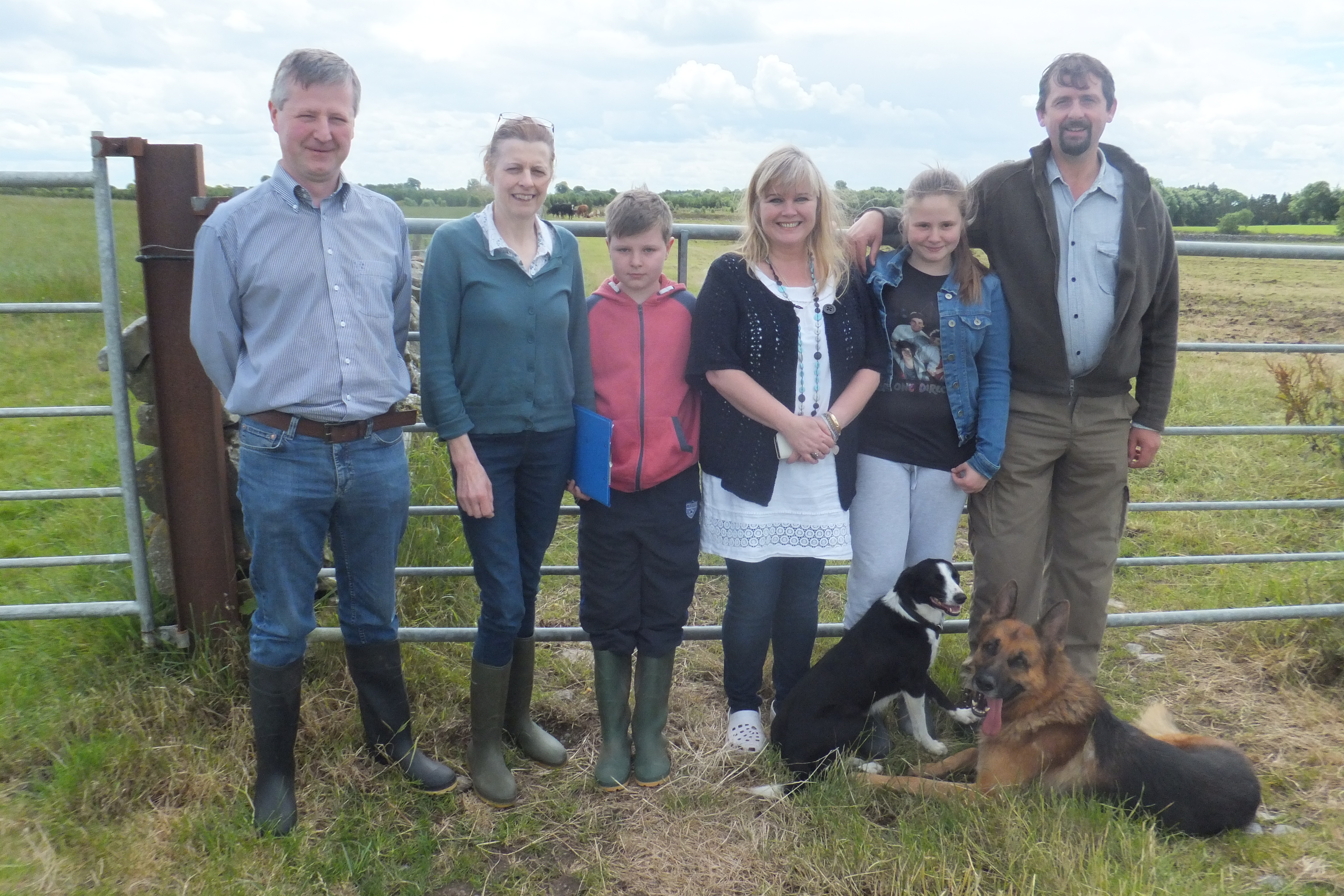 Teagasc advisers Austin Callaghan and Geraldine Hynes (pictured on the left) join the Dixon family, Anna and Oliver along with children Daniel and Hazel to discuss plans for the upcoming organic demonstration farm walk which will be held on the Dixon's farm on Thursday, 17th July at 2pm.
