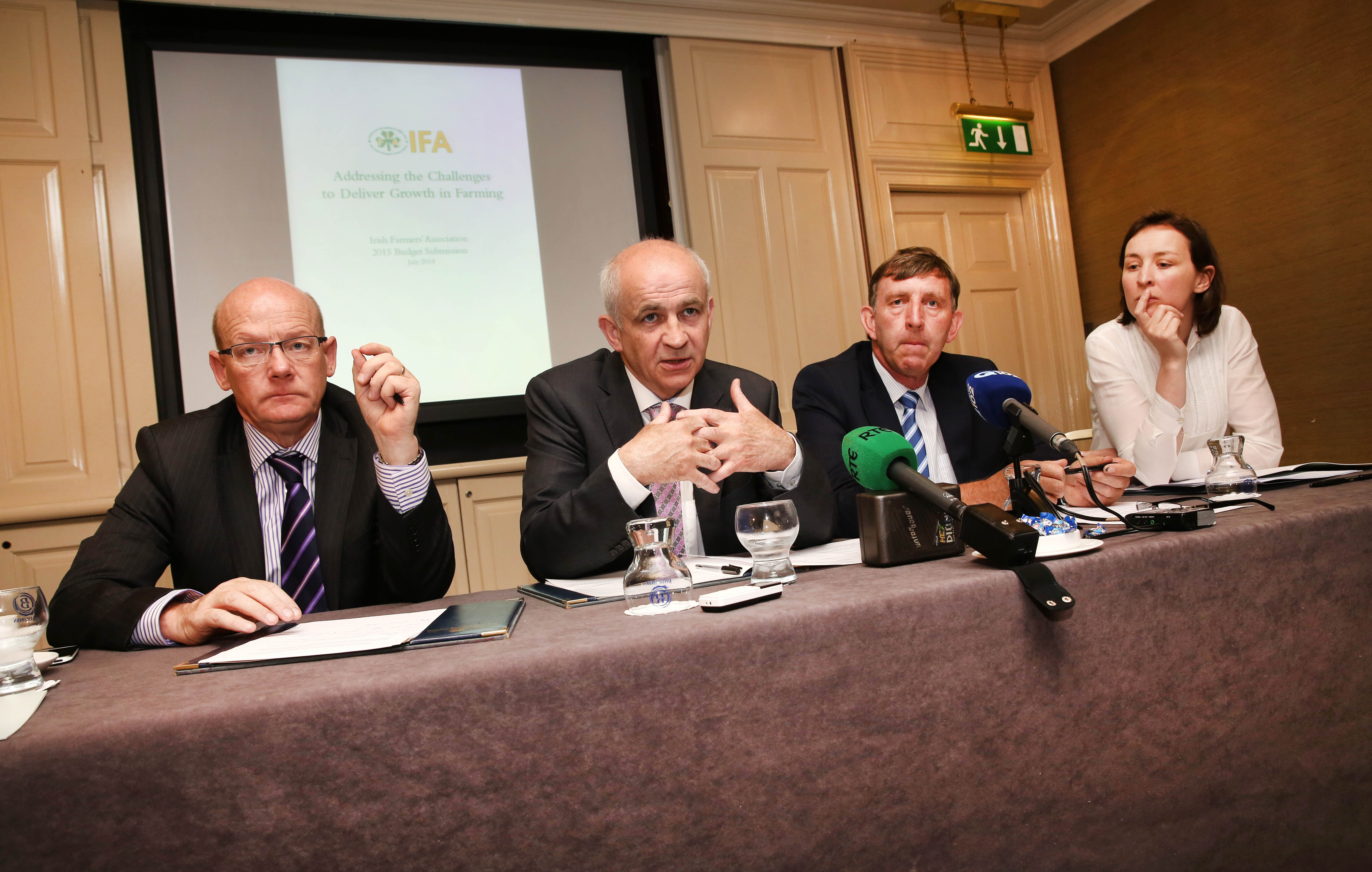 Pictured at the IFA's pre-Budget submission were IFA General Secretary Pat Smith, IFA President Eddie Downey, IFA Farm Business Chairman Tom Doyle and FA Chief Economist Rowena Dwyer.