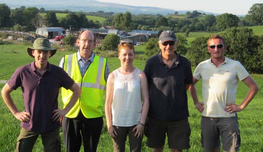 Cormac Cunningham Host Farmer, Alan Warnock CAFRE, Deirdre Toal Progressive Genetics , Bernard Eivers National Cattle Breeding Centre and Cathal McAleer Farm Manager