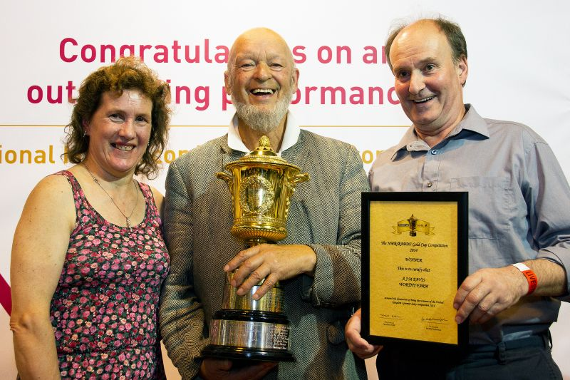 NMR RABDF gold cup winners 2014 from left Pam Taylor, Michael Eavis & Richard Taylor