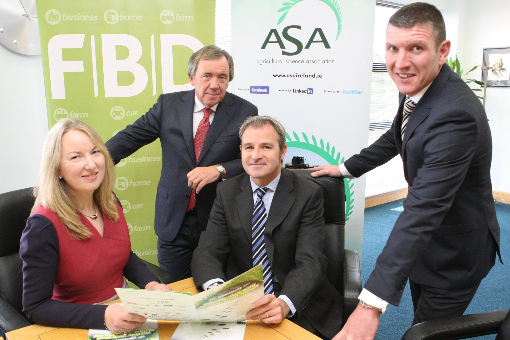 Announcing details of ASA Conference are: Siobhán Talbot, Managing Director Glanbia and Larry Murrin, Chief Executive Dawn Farm Foods, both conference speakers, with Andrew Langford, Chief Executive FBD, conference partner and Seán Farrell, ASA President.