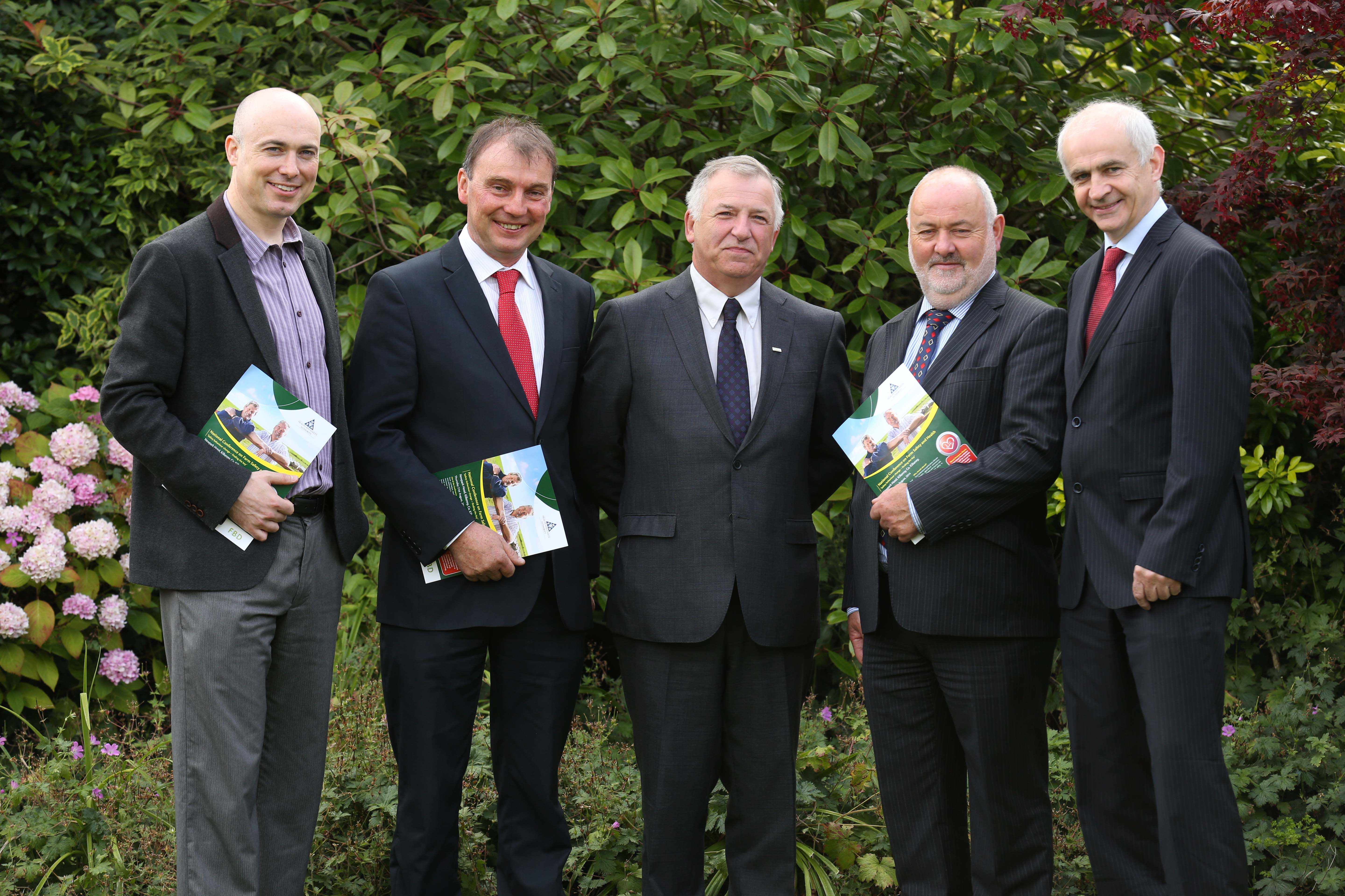 Pictured at the National conference on farm safety and health in Kilkenny, Dr Denis O'Hora NUI Galway, John Comer ICMSA, Gerry Boyle, Director of Teagasc, Martin O'Halloran HSA CEO and Eddie Downey President IFA.
