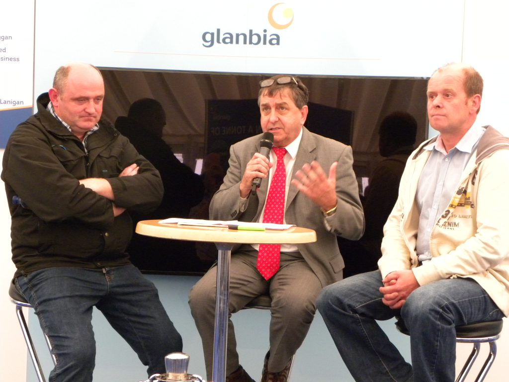 Jim Dunne, on the left,, at the Glanbia discussion on dairying.