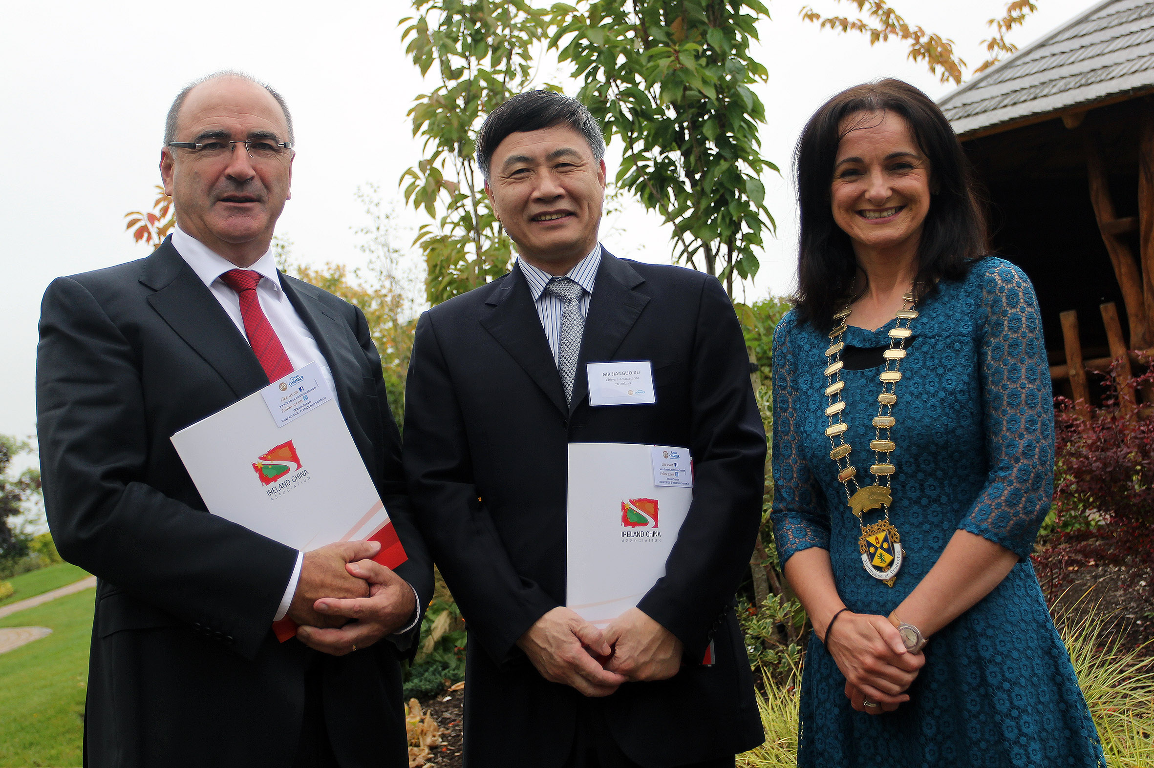 he Ambassador of China to Ireland, Mr. Jianguo Xu, pictured with Lakeland Dairies CEO Michael Hanley and Lyn Sharkey, President of Cavan Chamber of Commerce,  at the Ireland China Business Conference hosted by Cavan Chamber of Commerce.