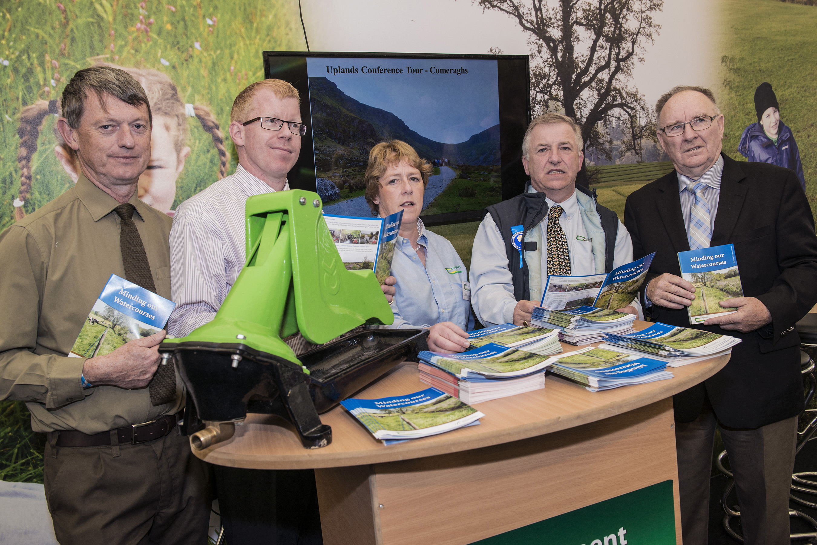 Pictured at the launch of the Teagasc/ Inland Fisheries Ireland booklet on 'Minding Our Watercourses' on the Teagasc stand at the National Ploughing Championships in Ratheniska, Co Laois are Greg Forde, Inland Fisheries Ireland, Dr Ciaran Byrne, CEO Inland Fisheries Ireland, Catherine Keena, Countryside Management Specialist, Teagasc, Prof. Gerry Boyle, Director Teagasc & Brendan O'Mahony, Chairman, Inland Fisheries Ireland.