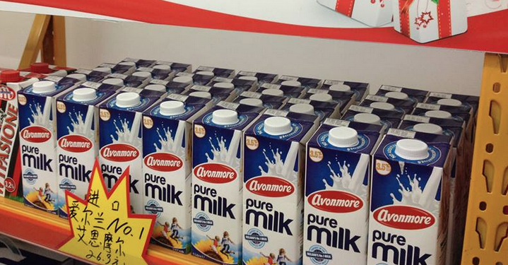 Avonmore milk on Shanghai supermarket shelves