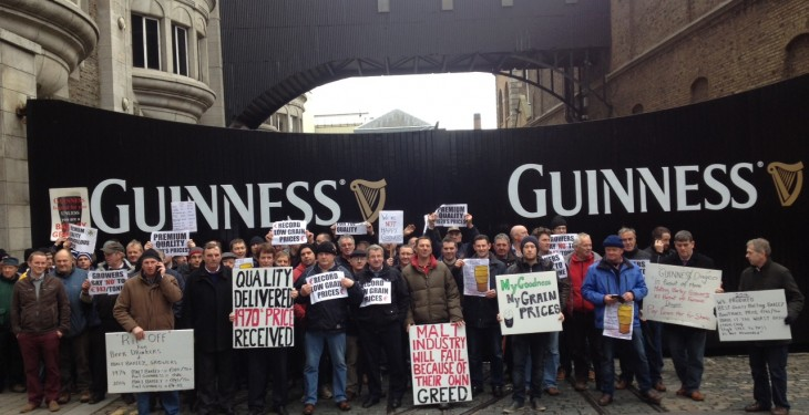 Malting barley growers protest outside Guinness
