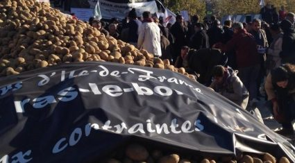 French farmers spread manure on the streets during protest