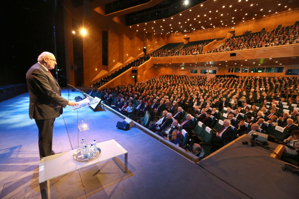 EU Agriculture Commissioner Phil Hogan speaking to 1,700 guests and voluntary officers, who served on IFA's National Council and Executive Council, since the founding of the Association in 1955, attending the IFA's 60th commemoration at the Convention Centre in Dublin.