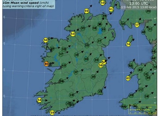 Gusts of up to 110km/h to hit costal and hilly areas – Met Eireann