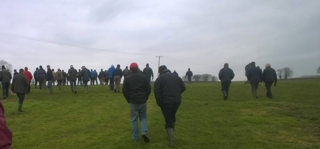 Section of the 100 strong crowd at recent Teagasc winter crop walk held at DAFM farm, Fermoy, Co. Cork (Wednesday  Feb ,11)