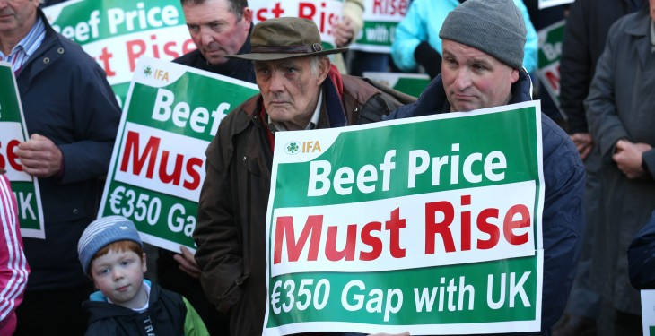 €350 UK/Irish beef price gap returns, so where are the protests?