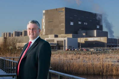 Jim Bergin CEO of Glanbia Ingredients Ireland outside new Facility