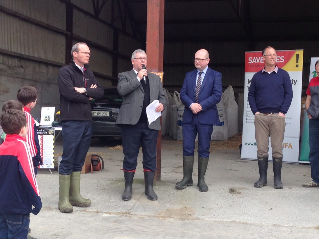 The Minister for Agriculture Simon Coveney at todays farm walk.