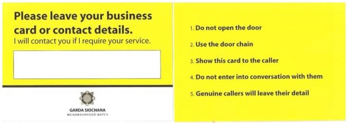 Garda bogus caller card