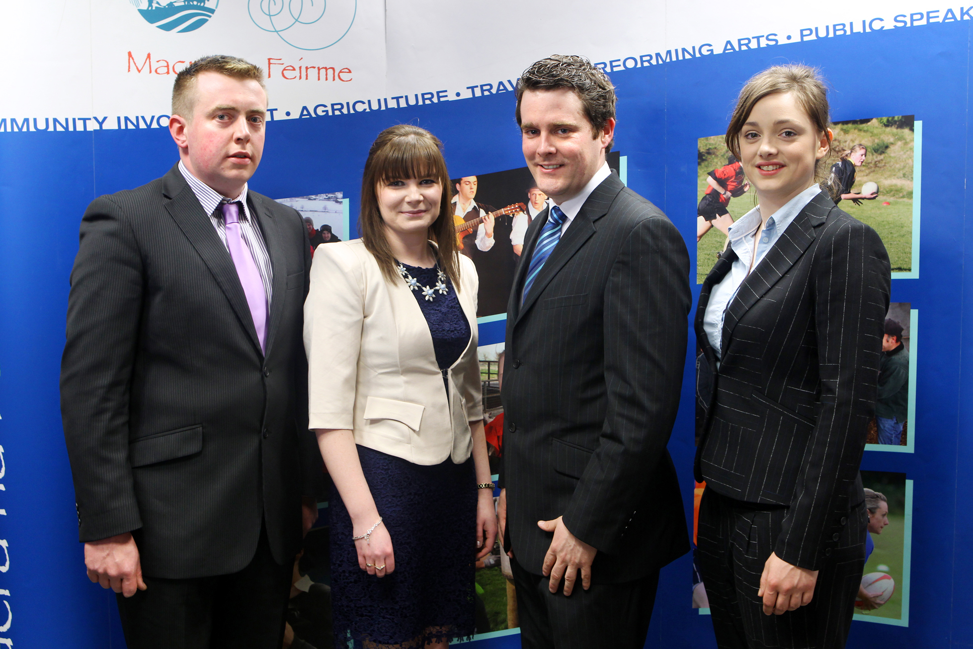 National President Elect, Sean Finan, Castlerea Macra, Roscommon; (second from right) with (left to right) Munster Vice President, Gerard Griffin, Mitchelstown Macra, Avondhu, Cork; North West Vice President, Caroline O'Dowd, South Sligo Macra; and Leinster Vice President, Odile Evans, Johnstown/ Coolgreaney Macra, Wicklow.