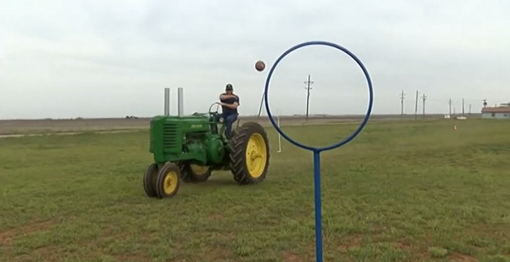 What do you get when you combine the NFL and a tractor? Tractor football!