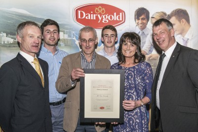 Pictured at the Dairygold Milk Quality Awards are Sean MacSweeney, Dairygold Board Member, winners Daniel & Valerie Dennehy, Clonmoyle, Aghabullogue & their sons Michael & Colm & Richard Hinchion, Dairygold Board Member. Photo O'Gorman Photography.