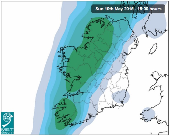 Rainfall levels Sunday