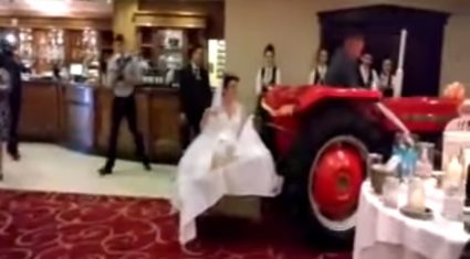 Video: A bride arrived to her wedding reception on a transport box