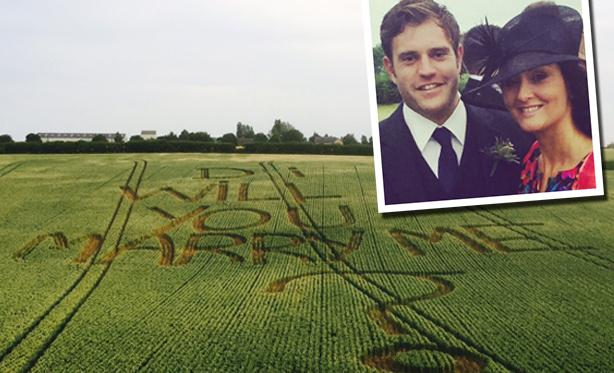 Crop marks for farmer's marriage proposal with a difference