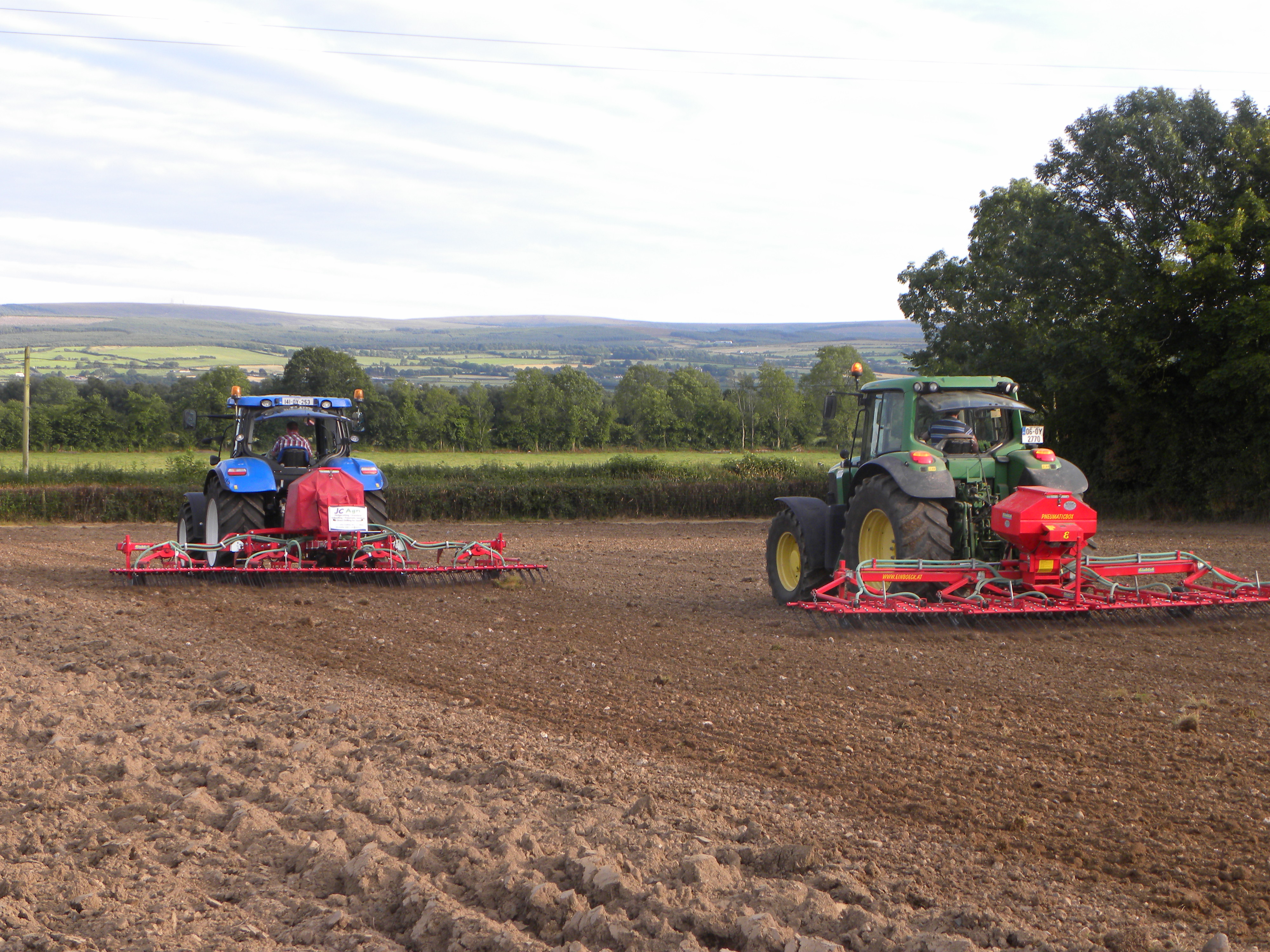 Einbock systems in operation on tilled ground