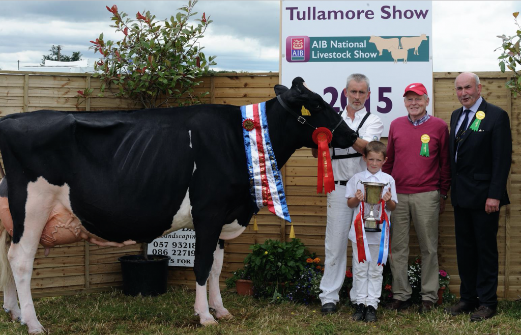 Senior Holstein Friesian Champion - Evergreen Duplex Ebony , Liam Murphy , Co Carlow, with Tommy Finlay , Dairy section, Tullamore Show, Tom Kelly Judge of the Monamore Herd, Drogheda, Co. Louth.