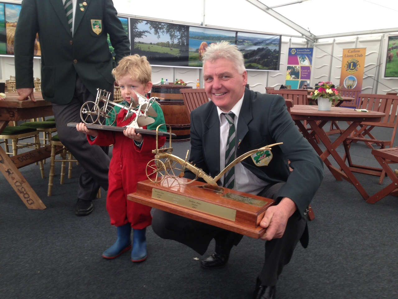 Padraig Whelan, son of well known ploughman John Whelan pictured with Eamonn Treacey, current World Ploughing Champion.