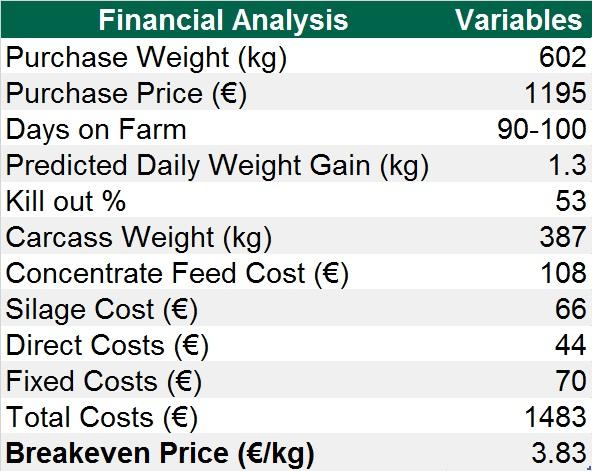 Economics of the steer finishing system on Niall O'Mahony's farm