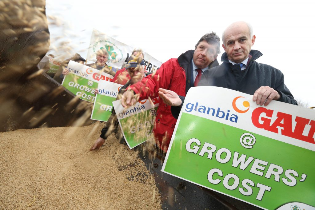NO FEE IFA President Eddie Downey leading a protest by grain farmers outside Glanbia headquarters in Kilkenny. The IFA have accused Glanbia of short-changing tillage farmers on feed grain prices paid this harvest. Picture: Finbarr O'Rourke NO FEE