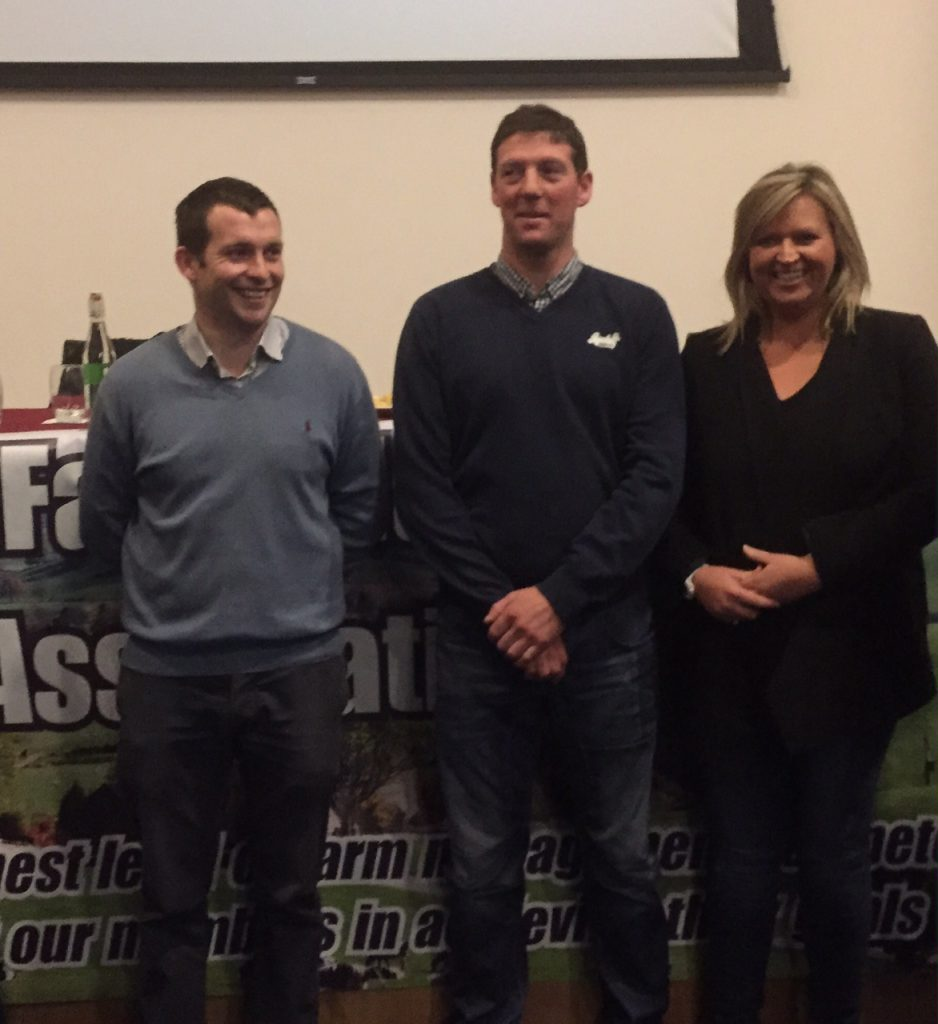 Paidi Kelly of Teagasc pictured with Noel and Louise McCall