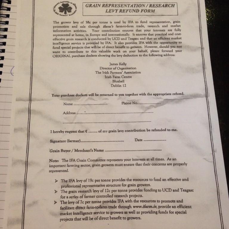 IFA grain levies refund form