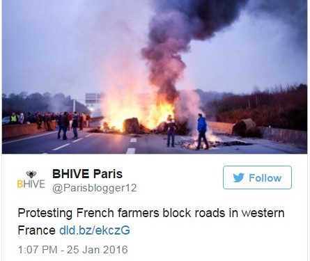 Pics: Protesting French farmers set tyres on fire and block roads with tractors