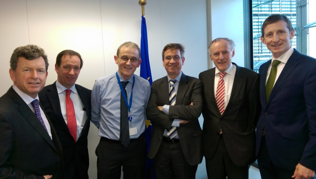 (l-r): Bryan Barry, Acting General Secretary; Jer Bergin, IFA National Chairman; Tom Tynan, Cabinet of EU Commissioner Phil Hogan; Pierre Bascou, Head of Direct Payments DG Agri; Gerry Gunning, IFA Rural Development Executive; and, Liam MacHale, IFA Director of European Affairs.