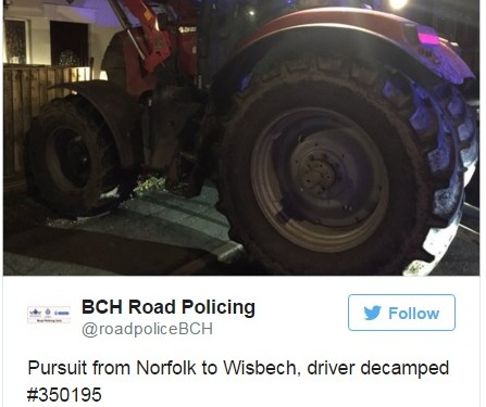 Six police cars and helicopter involved in 16km/h tractor chase
