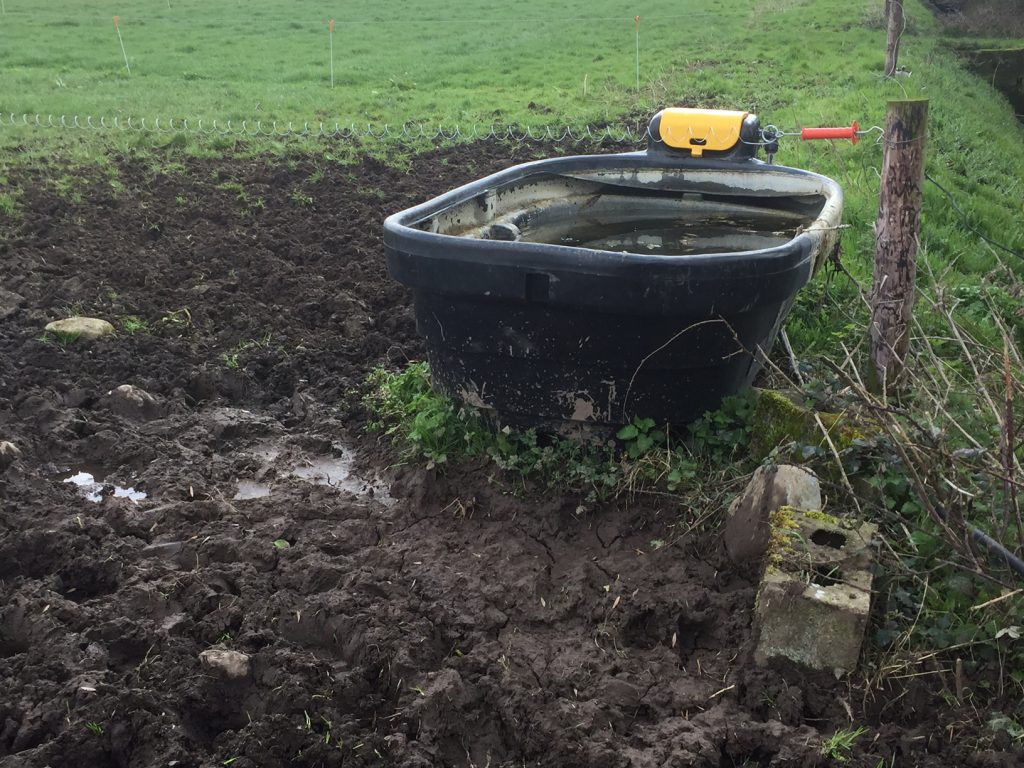 poorly positioned water trough