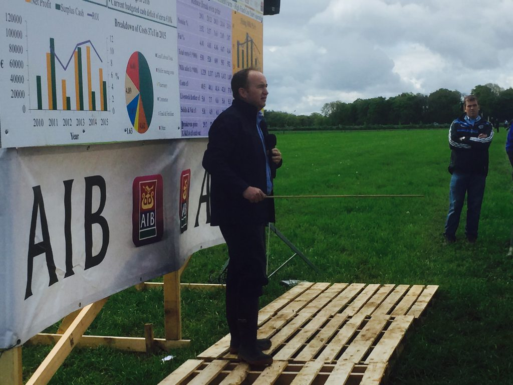 Teagasc's Laurence Shalloo speaking at the open day.