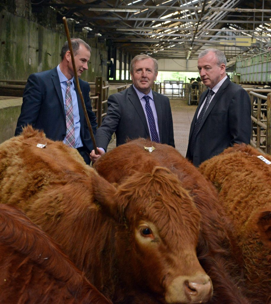 Sean Coughlan CEO ICBF with Minister for Agriculture Michael Creed TD and Sean O'Sullivan CEO Cork Marts.