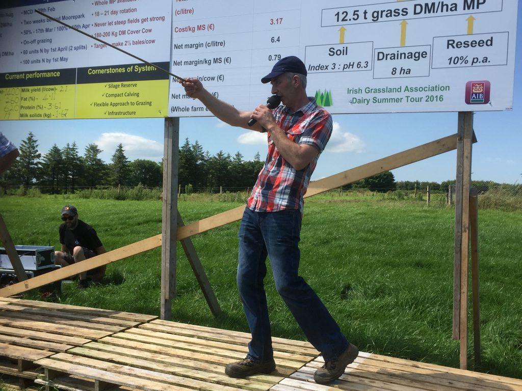 Sean O'Riordan speaking at the Irish Grassland Association's dairy Summer Tour