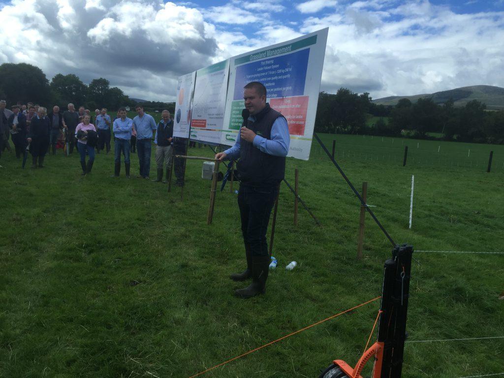 Philip Creighton speaking at the farm walk