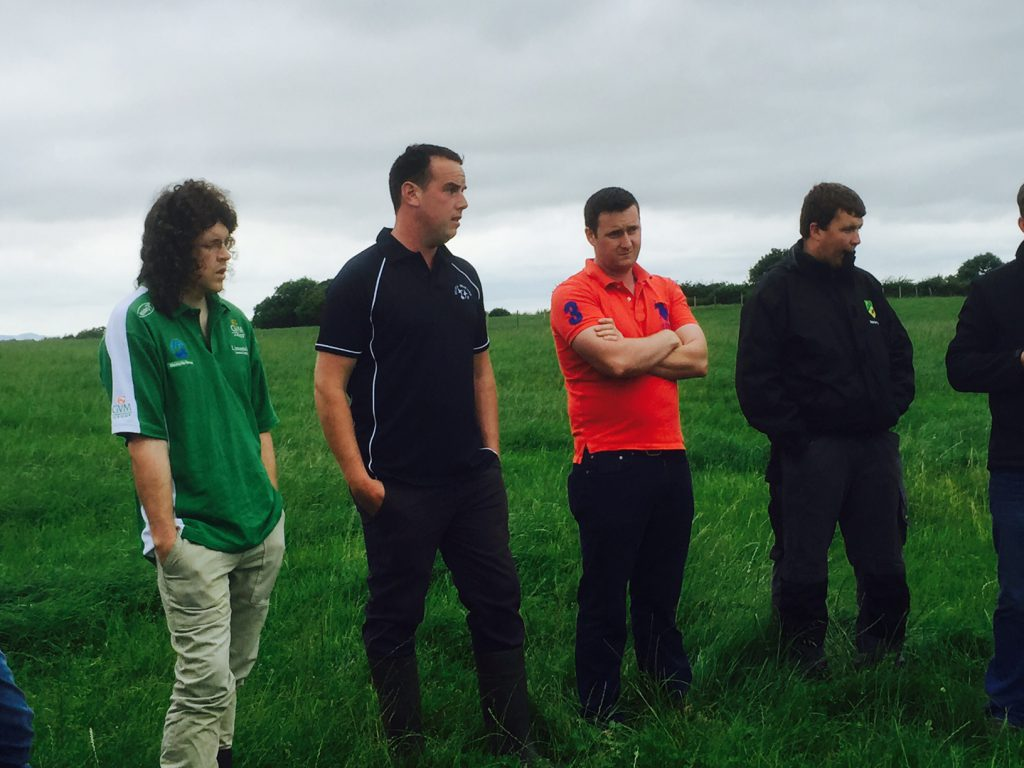 Thomas O'Connor (second from the left) speaking at the farm walk