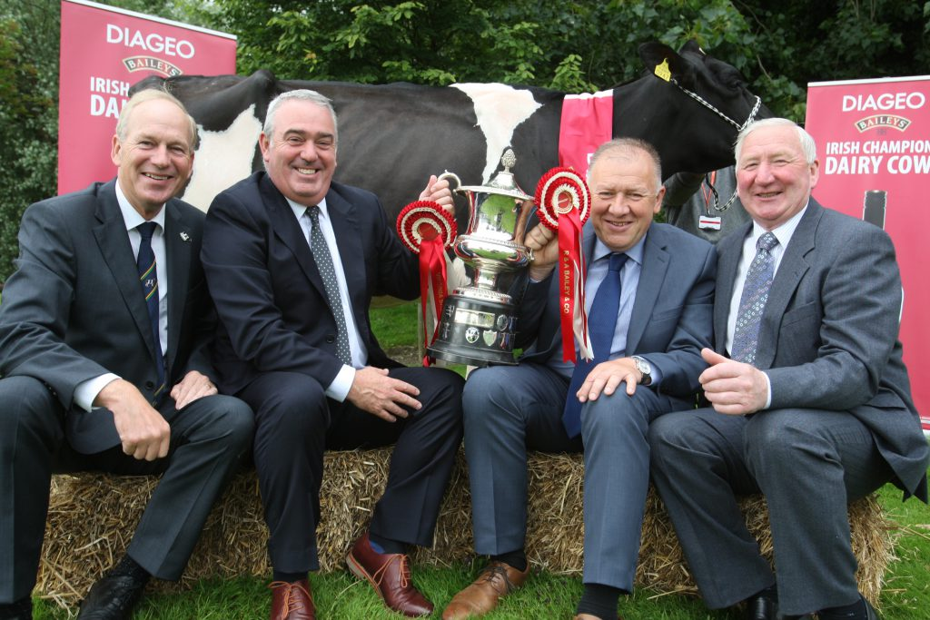 Launching the 2016 Diageo Baileys Champion Dairy Cow Competition Charlie Gallagher IHFA; Robert Murphy Diageo Baileys Global Supply, Martin Tynan Glanbia Ingredients Virginia and Sean Farrelly, Virginia Show