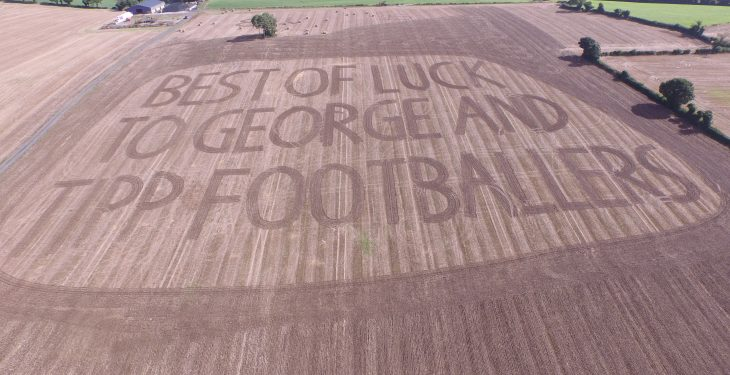 Farmer uses disc harrow to wish the Tipperary footballers the best of luck