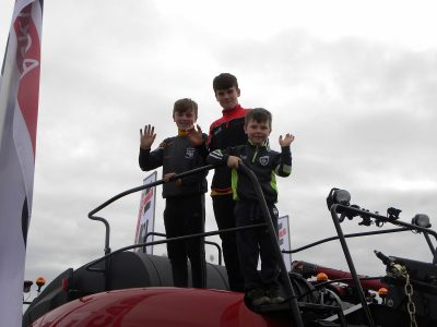 Michael Dempsey (5), Ryan Dunne and Killian Brennan (13) at the Case IH stand.