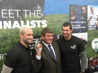 Irish rugby internationals Rob and Dave Kearney alongside Minister of State at the Department of Agriculture, Food and the Marine, Andrew Doyle.
