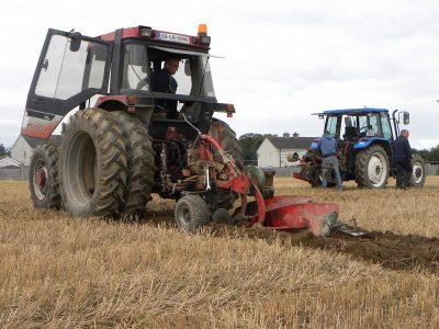 Ploughing competitors in the Intermediate Conventional 2-furrow plough class.