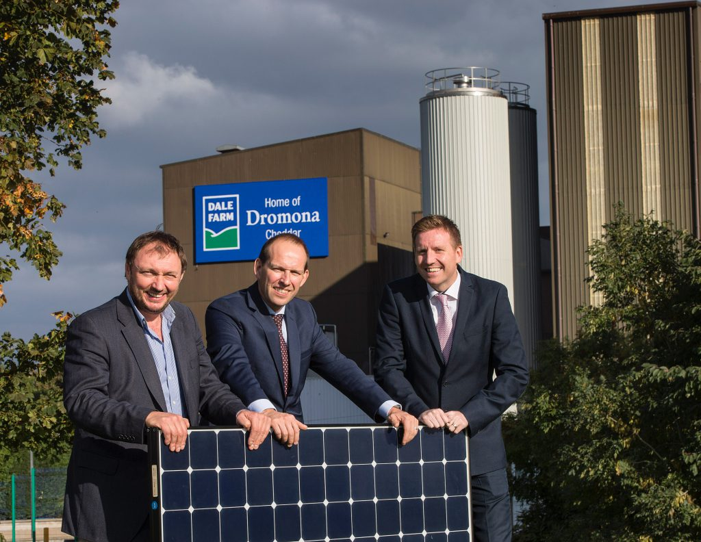 L-R: Chief Executive of CES Energy, Tom Marren alongside Group Chief Executive of Dale Farm Nick Whelan and Dale Farm Group Operations Director, Chris McAlinden.