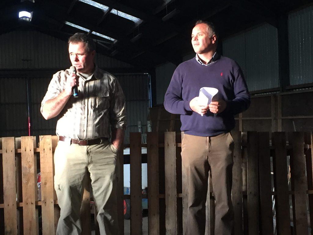 John Holton (left) speaking at the farm walk